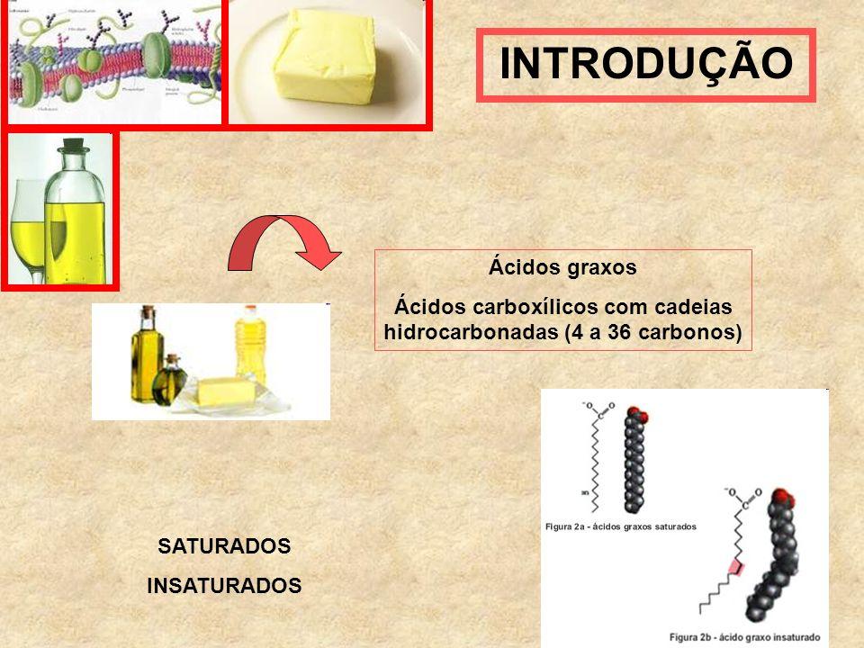 INTRODUÇÃO Ácidos graxos Ácidos carboxílicos com cadeias hidrocarbonadas (4 a 36 carbonos) SATURADOS INSATURADOS