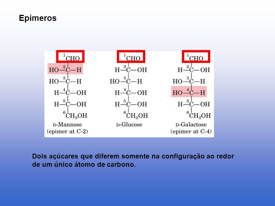 Epímeros Dois açúcares que diferem somente na configuração ao redor de um único átomo de carbono.