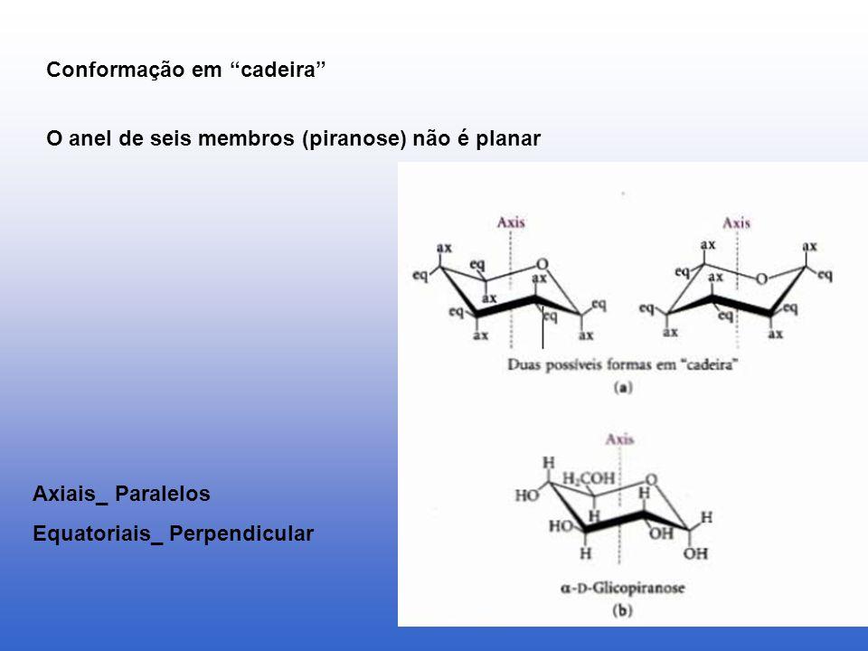 Conformação em cadeira Axiais_ Paralelos Equatoriais_ Perpendicular O anel de seis membros (piranose) não é planar