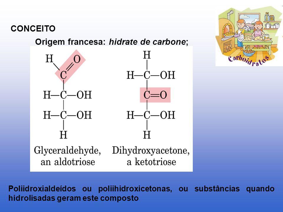 CONCEITO Origem francesa: hidrate de carbone; Poliidroxialdeídos ou poliihidroxicetonas, ou substâncias quando hidrolisadas geram este composto