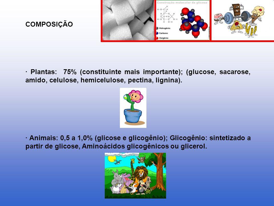 · Plantas: 75% (constituinte mais importante); (glucose, sacarose, amido, celulose, hemicelulose, pectina, lignina). · Animais: 0,5 a 1,0% (glicose e