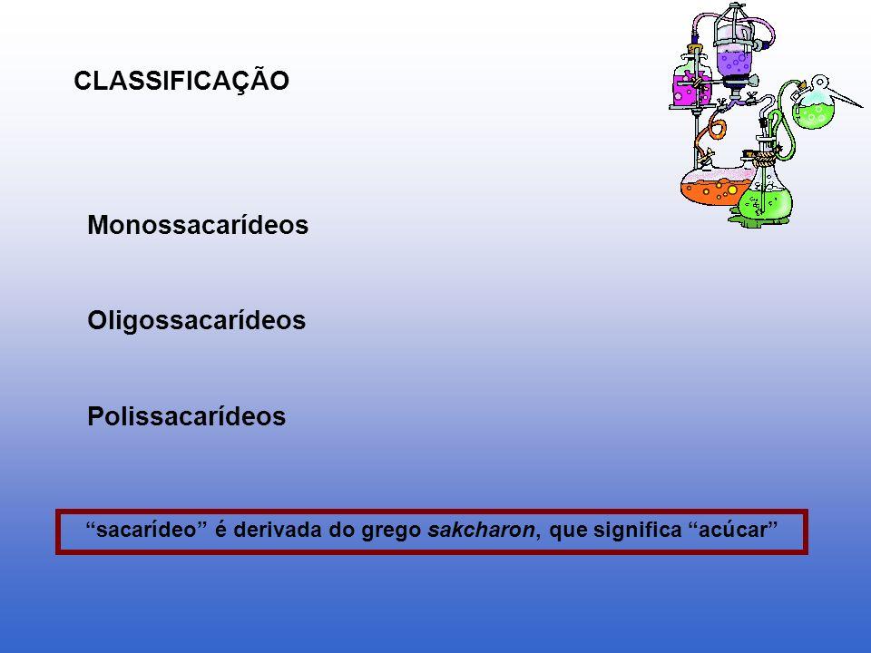 CLASSIFICAÇÃO Monossacarídeos Oligossacarídeos Polissacarídeos sacarídeo é derivada do grego sakcharon, que significa acúcar