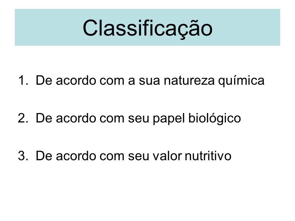 Classificação 1.De acordo com a sua natureza química 2.De acordo com seu papel biológico 3.De acordo com seu valor nutritivo