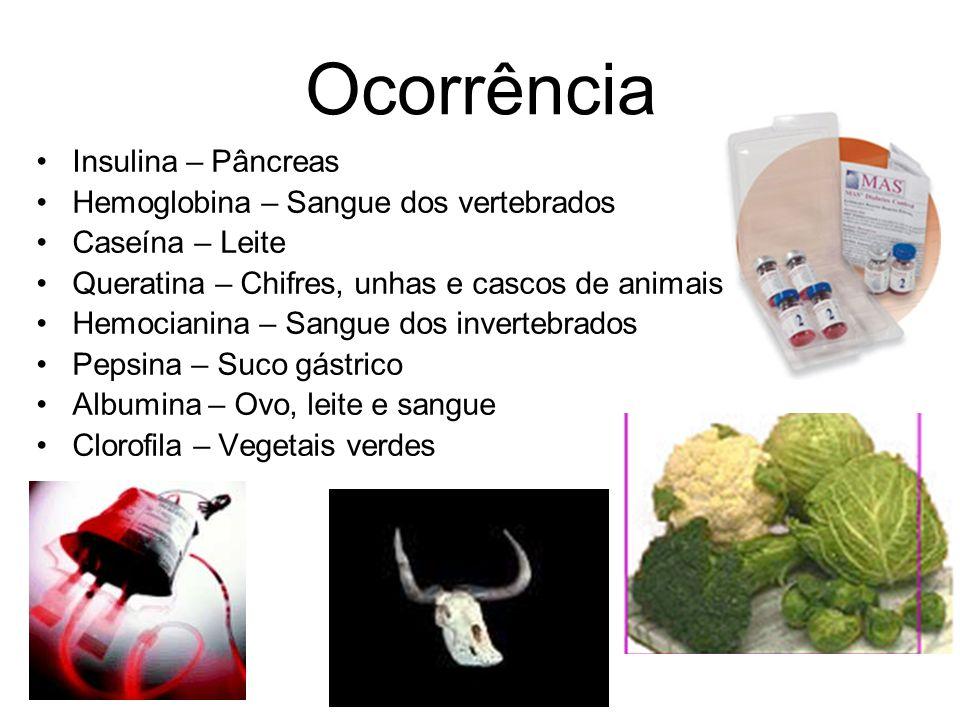 Insulina – Pâncreas Hemoglobina – Sangue dos vertebrados Caseína – Leite Queratina – Chifres, unhas e cascos de animais Hemocianina – Sangue dos inver