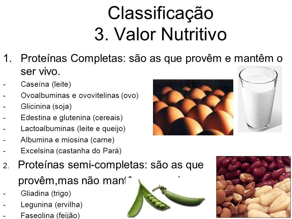 Classificação 3. Valor Nutritivo 1.Proteínas Completas: são as que provêm e mantêm o ser vivo. -Caseína (leite) -Ovoalbuminas e ovovitelinas (ovo) -Gl