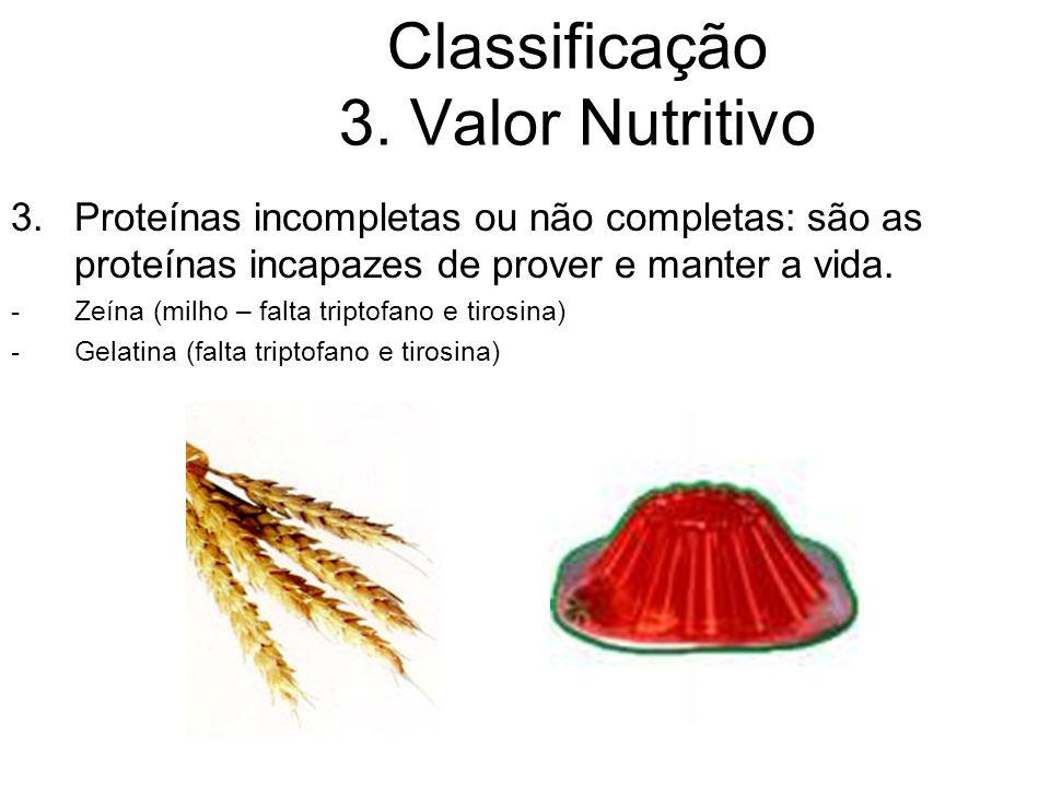 Classificação 3. Valor Nutritivo 3.Proteínas incompletas ou não completas: são as proteínas incapazes de prover e manter a vida. -Zeína (milho – falta