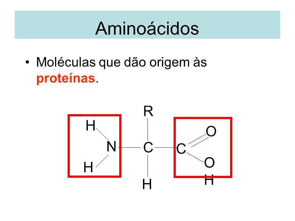 Aminoácidos Moléculas que dão origem às proteínas. C N H R C OHOH O H H
