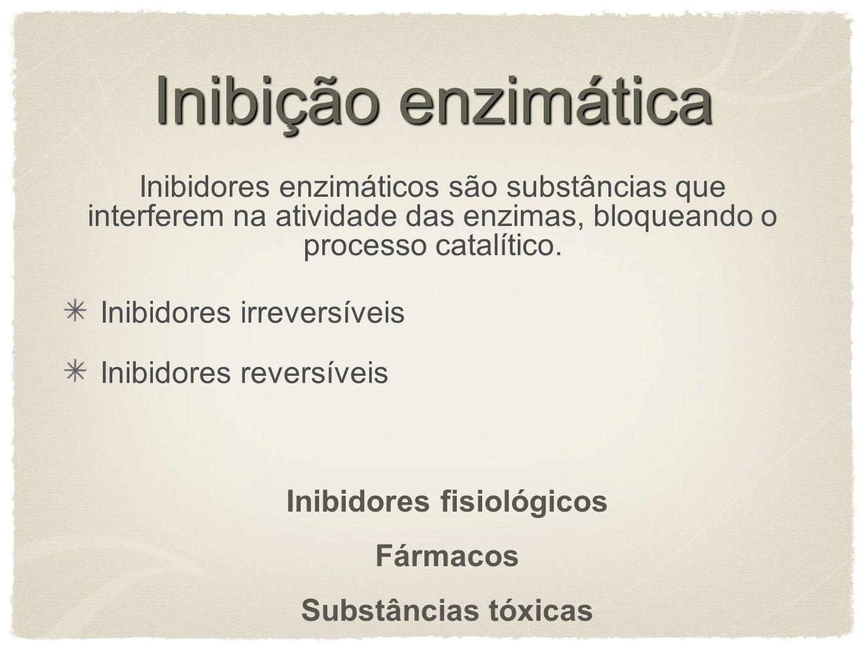Inibição enzimática Inibidores enzimáticos são substâncias que interferem na atividade das enzimas, bloqueando o processo catalítico. Inibidores irrev