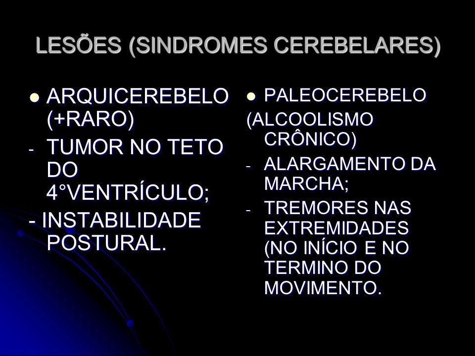 LESÕES (SINDROMES CEREBELARES) ARQUICEREBELO (+RARO) ARQUICEREBELO (+RARO) - TUMOR NO TETO DO 4°VENTRÍCULO; - INSTABILIDADE POSTURAL. PALEOCEREBELO PA