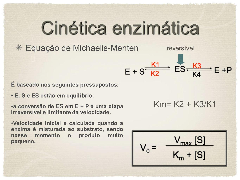 Cinética enzimática Equação de Michaelis-Menten É baseado nos seguintes pressupostos: E, S e ES estão em equilíbrio; a conversão de ES em E + P é uma