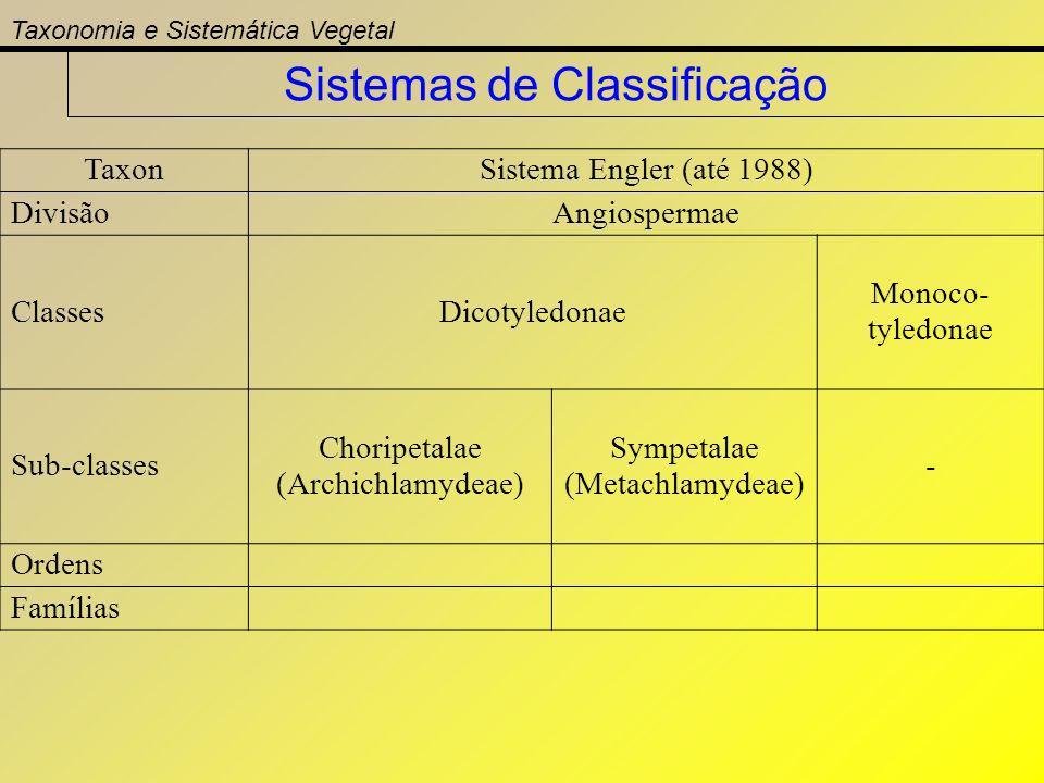 TaxonSistema Engler (até 1988) DivisãoAngiospermae ClassesDicotyledonae Monoco- tyledonae Sub-classes Choripetalae (Archichlamydeae) Sympetalae (Metac