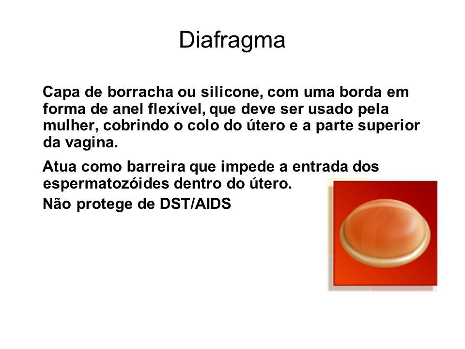 Diafragma Capa de borracha ou silicone, com uma borda em forma de anel flexível, que deve ser usado pela mulher, cobrindo o colo do útero e a parte su