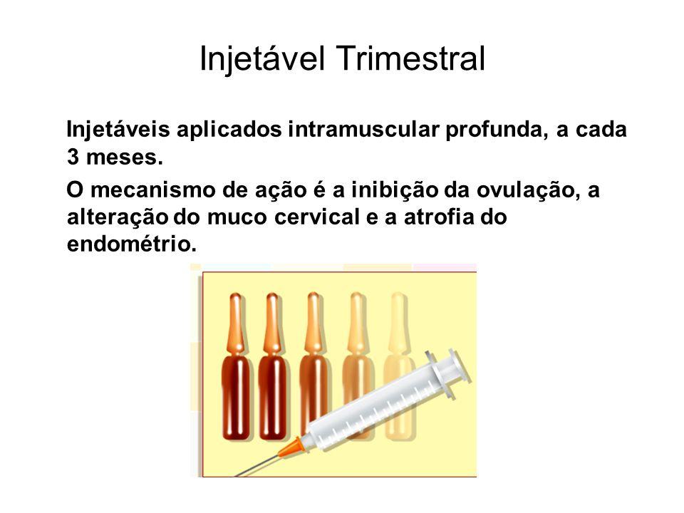 Injetável Trimestral Injetáveis aplicados intramuscular profunda, a cada 3 meses. O mecanismo de ação é a inibição da ovulação, a alteração do muco ce