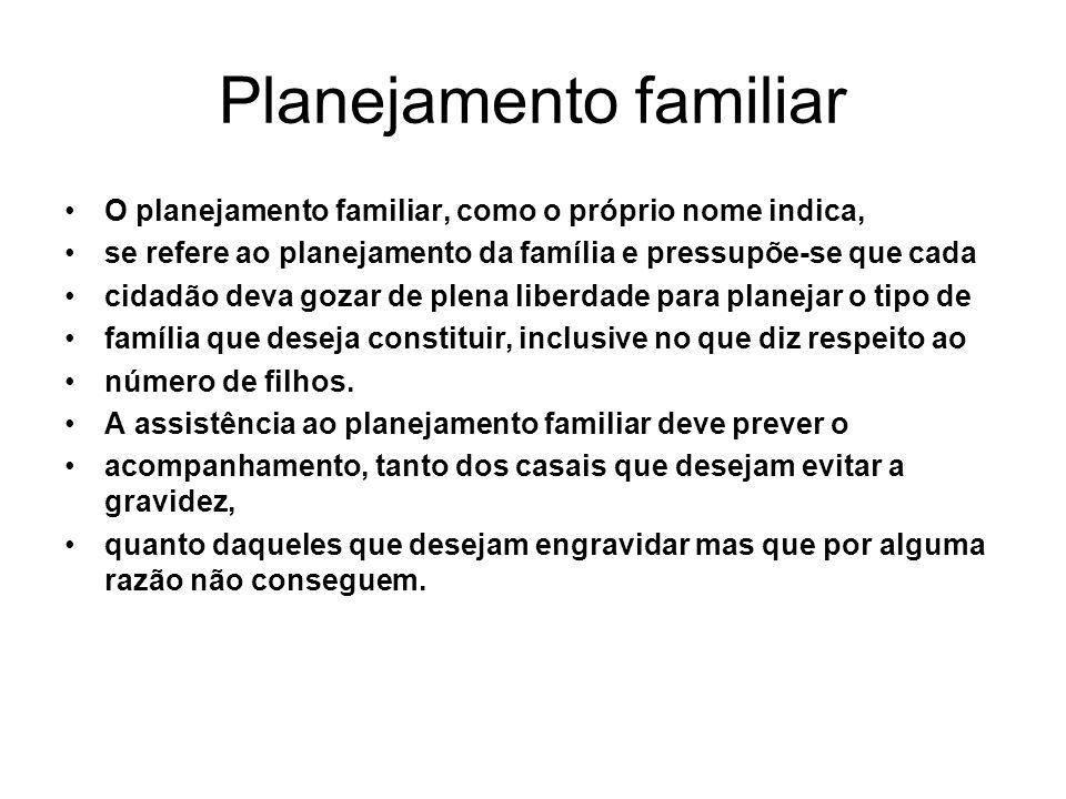 Planejamento familiar O planejamento familiar, como o próprio nome indica, se refere ao planejamento da família e pressupõe-se que cada cidadão deva g