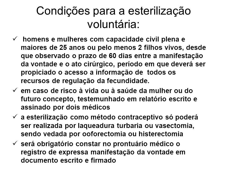 Condições para a esterilização voluntária: homens e mulheres com capacidade civil plena e maiores de 25 anos ou pelo menos 2 filhos vivos, desde que o
