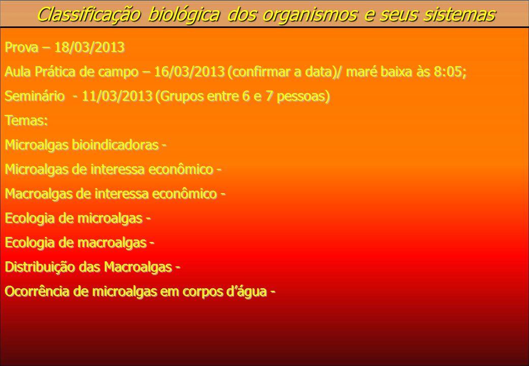 Classificação biológica dos organismos e seus sistemas Prova – 18/03/2013 Aula Prática de campo – 16/03/2013 (confirmar a data)/ maré baixa às 8:05; S
