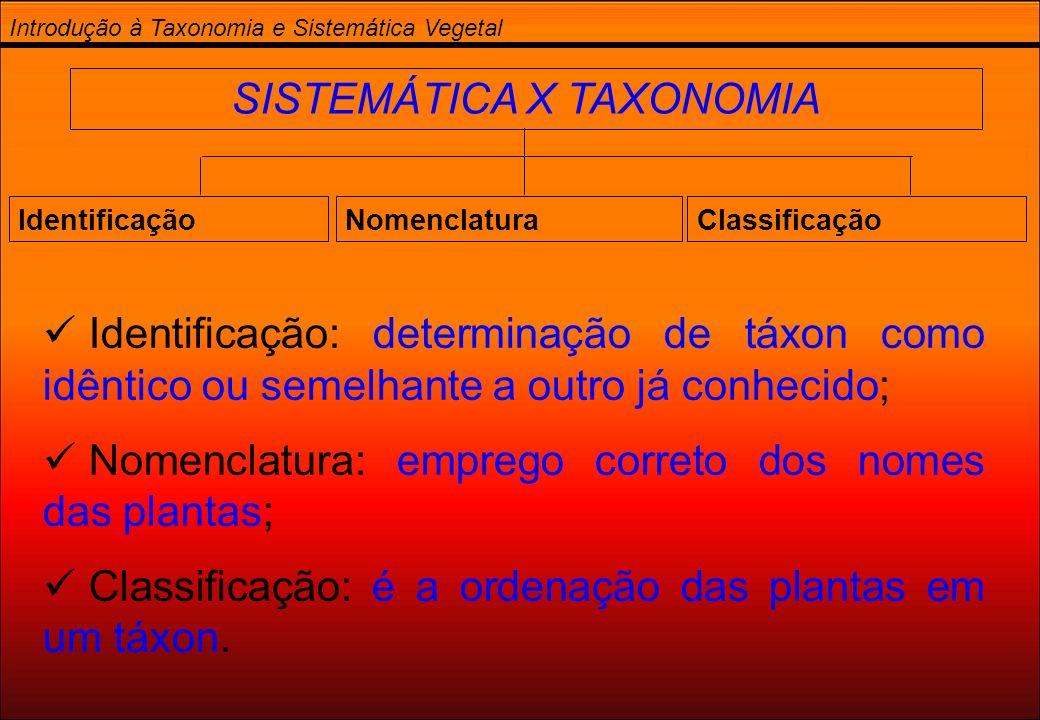 SISTEMÁTICA X TAXONOMIA Introdução à Taxonomia e Sistemática Vegetal IdentificaçãoNomenclaturaClassificação Identificação: determinação de táxon como
