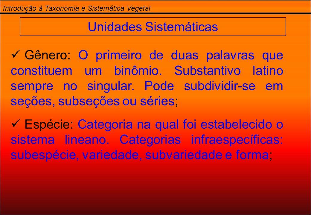 Introdução à Taxonomia e Sistemática Vegetal Unidades Sistemáticas Gênero: O primeiro de duas palavras que constituem um binômio. Substantivo latino s