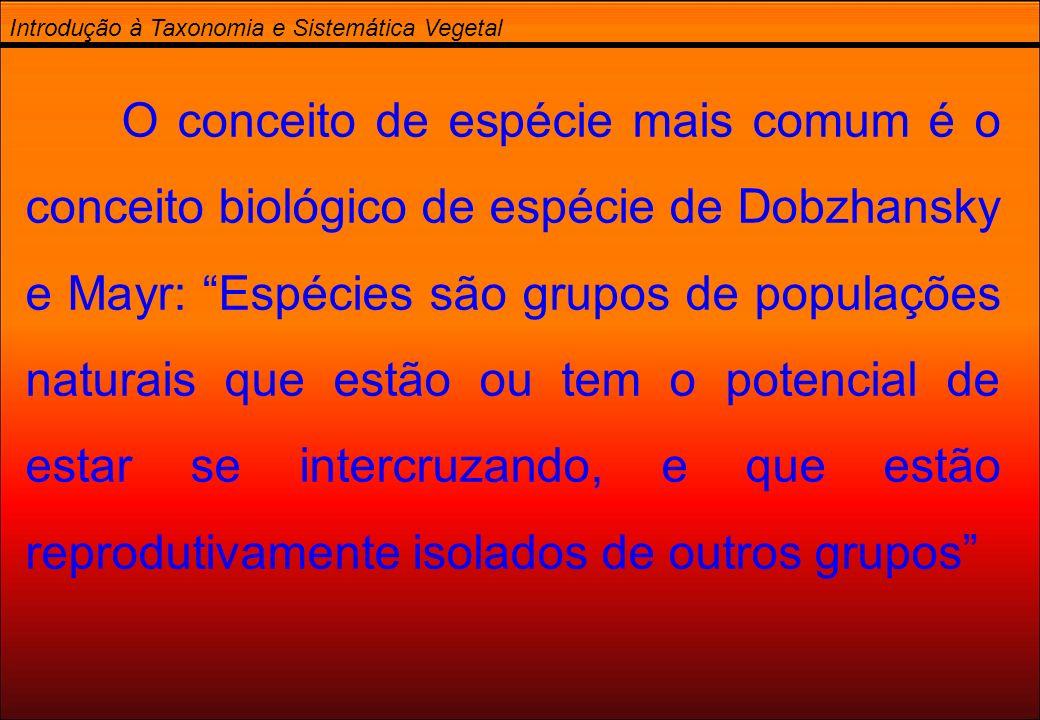 Introdução à Taxonomia e Sistemática Vegetal O conceito de espécie mais comum é o conceito biológico de espécie de Dobzhansky e Mayr: Espécies são gru