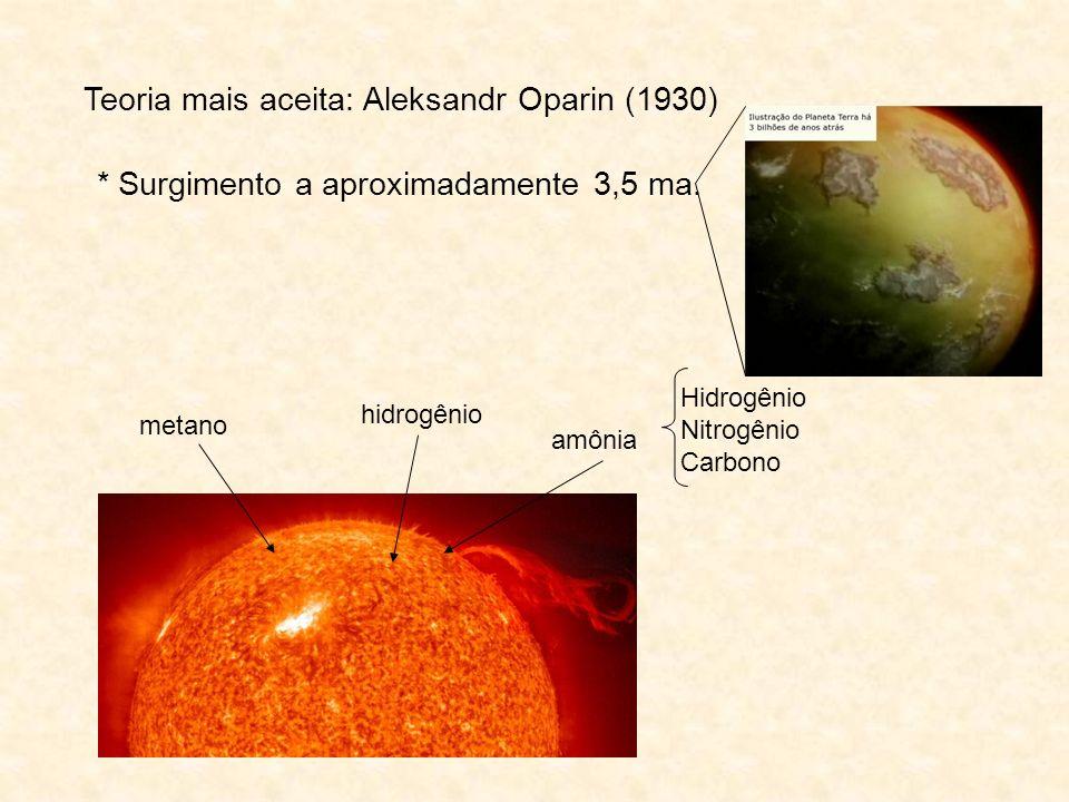Teoria mais aceita: Aleksandr Oparin (1930) metano hidrogênio amônia Hidrogênio Nitrogênio Carbono * Surgimento a aproximadamente 3,5 ma.