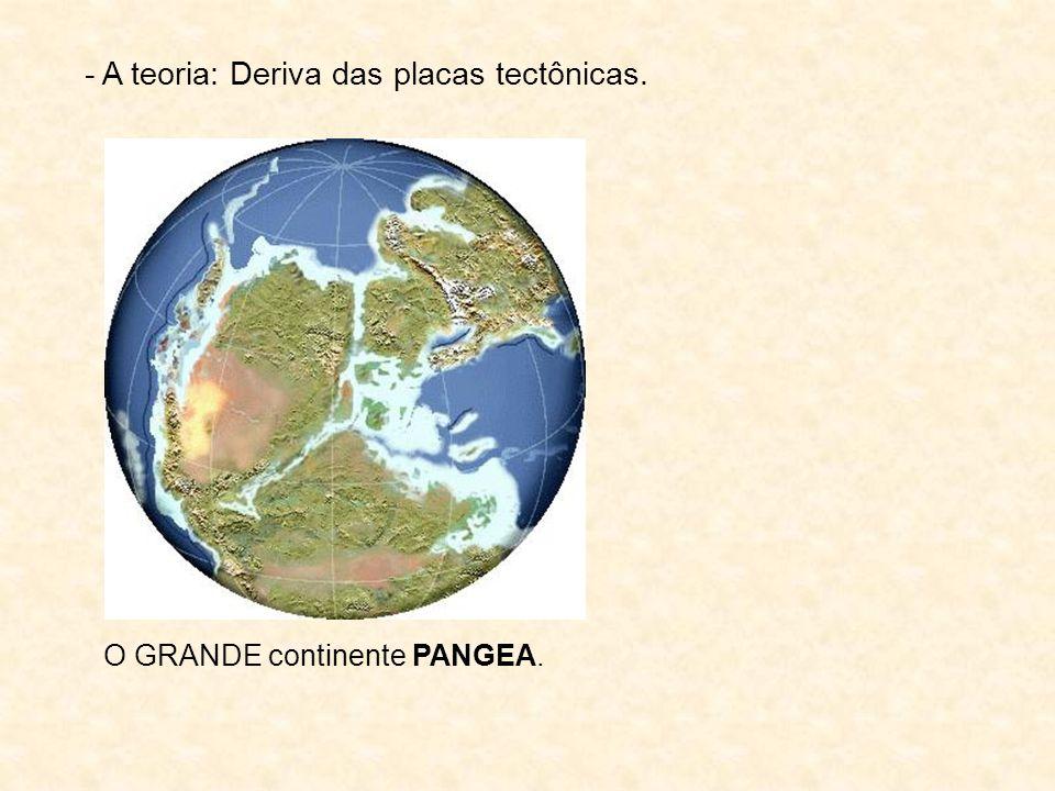 - A teoria: Deriva das placas tectônicas. O GRANDE continente PANGEA.