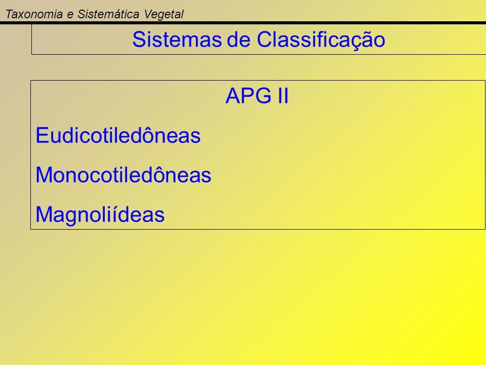 Taxonomia e Sistemática Vegetal Sistemas de Classificação APG II Eudicotiledôneas Monocotiledôneas Magnoliídeas