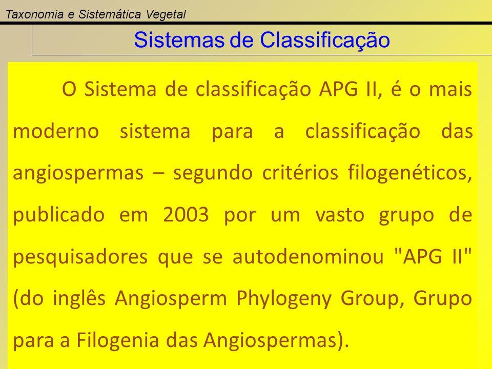 O Sistema de classificação APG II, é o mais moderno sistema para a classificação das angiospermas – segundo critérios filogenéticos, publicado em 2003