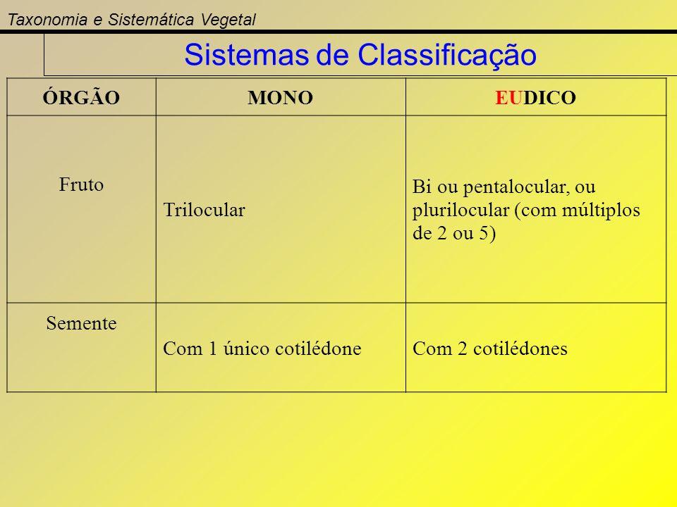 ÓRGÃOMONOEUDICO Fruto Trilocular Bi ou pentalocular, ou plurilocular (com múltiplos de 2 ou 5) Semente Com 1 único cotilédoneCom 2 cotilédones Taxonom