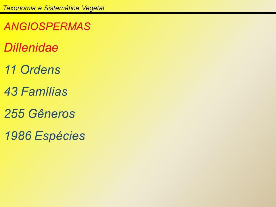 Taxonomia e Sistemática Vegetal ANGIOSPERMAS Dillenidae 11 Ordens 43 Famílias 255 Gêneros 1986 Espécies