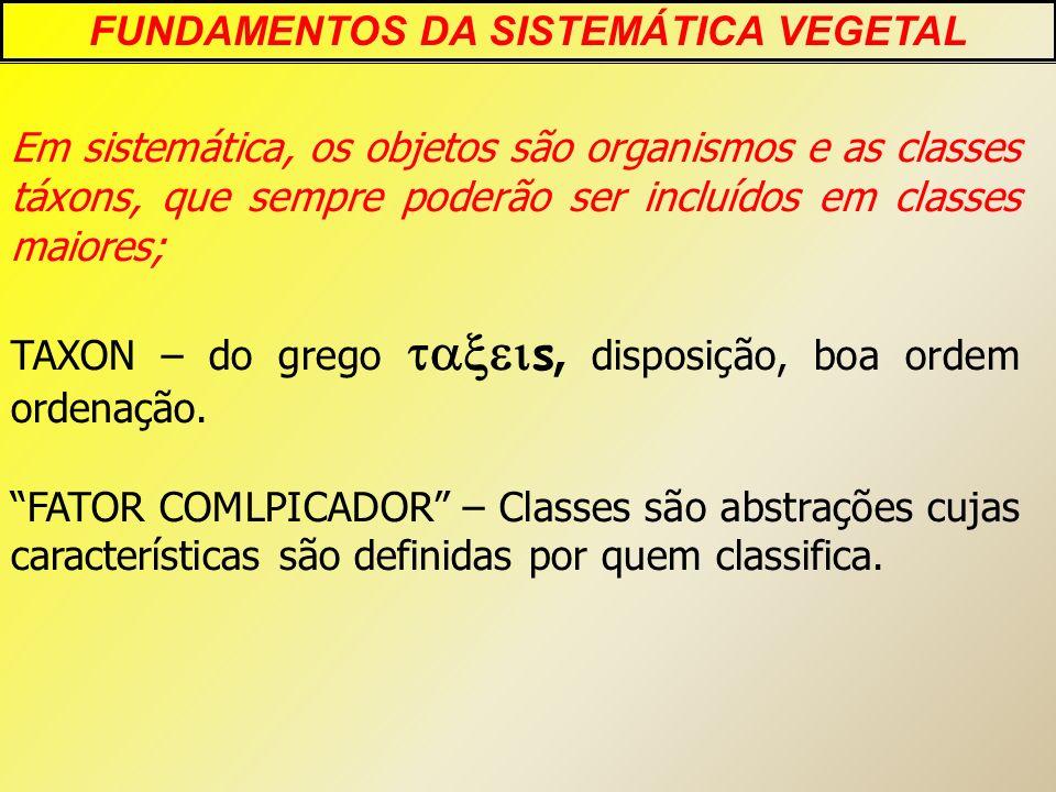 Em sistemática, os objetos são organismos e as classes táxons, que sempre poderão ser incluídos em classes maiores; TAXON – do grego s, disposição, bo