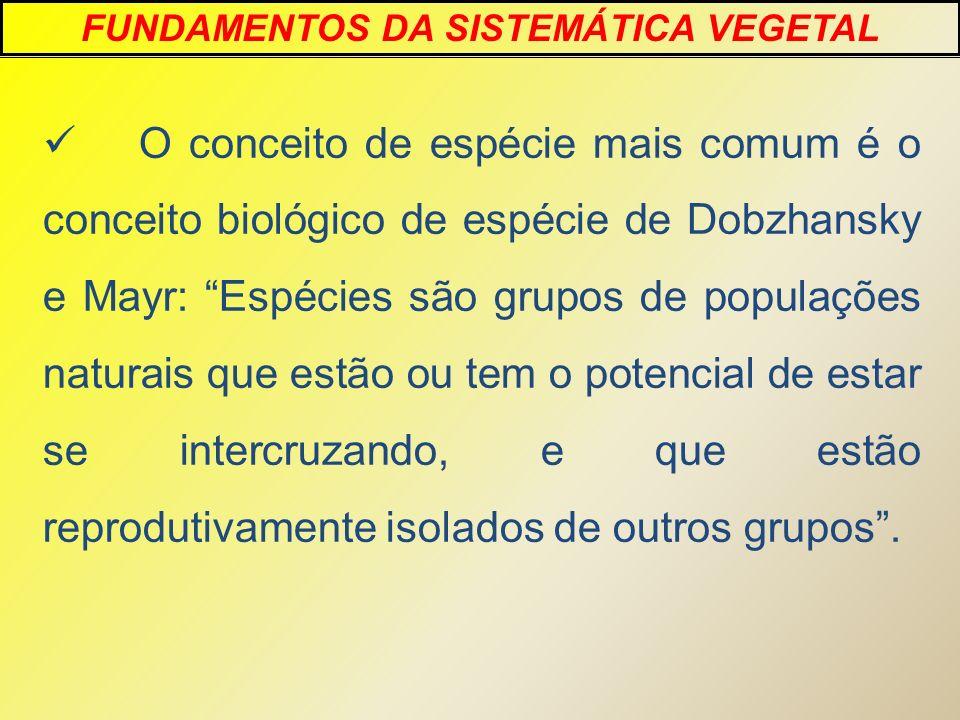 O conceito de espécie mais comum é o conceito biológico de espécie de Dobzhansky e Mayr: Espécies são grupos de populações naturais que estão ou tem o