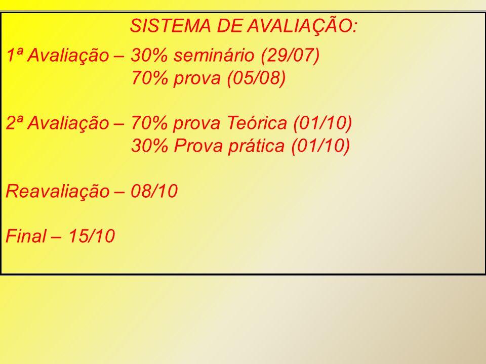 SISTEMA DE AVALIAÇÃO: 1ª Avaliação – 30% seminário (29/07) 70% prova (05/08) 2ª Avaliação – 70% prova Teórica (01/10) 30% Prova prática (01/10) Reaval