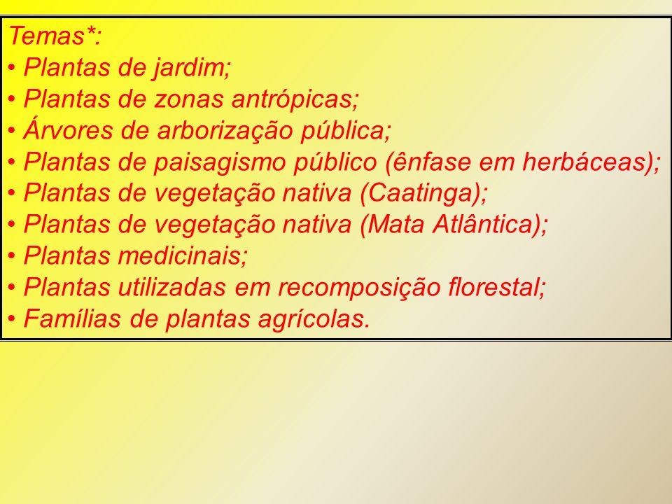 Temas*: Plantas de jardim; Plantas de zonas antrópicas; Árvores de arborização pública; Plantas de paisagismo público (ênfase em herbáceas); Plantas d