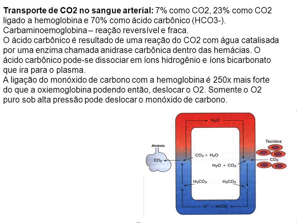 Transporte de CO2 no sangue arterial: 7% como CO2, 23% como CO2 ligado a hemoglobina e 70% como ácido carbônico (HCO3-). Carbaminoemoglobina – reação