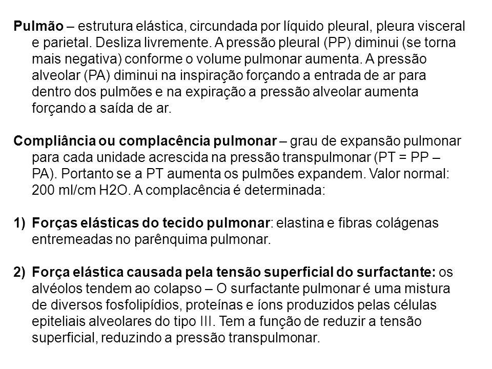 Pulmão – estrutura elástica, circundada por líquido pleural, pleura visceral e parietal. Desliza livremente. A pressão pleural (PP) diminui (se torna
