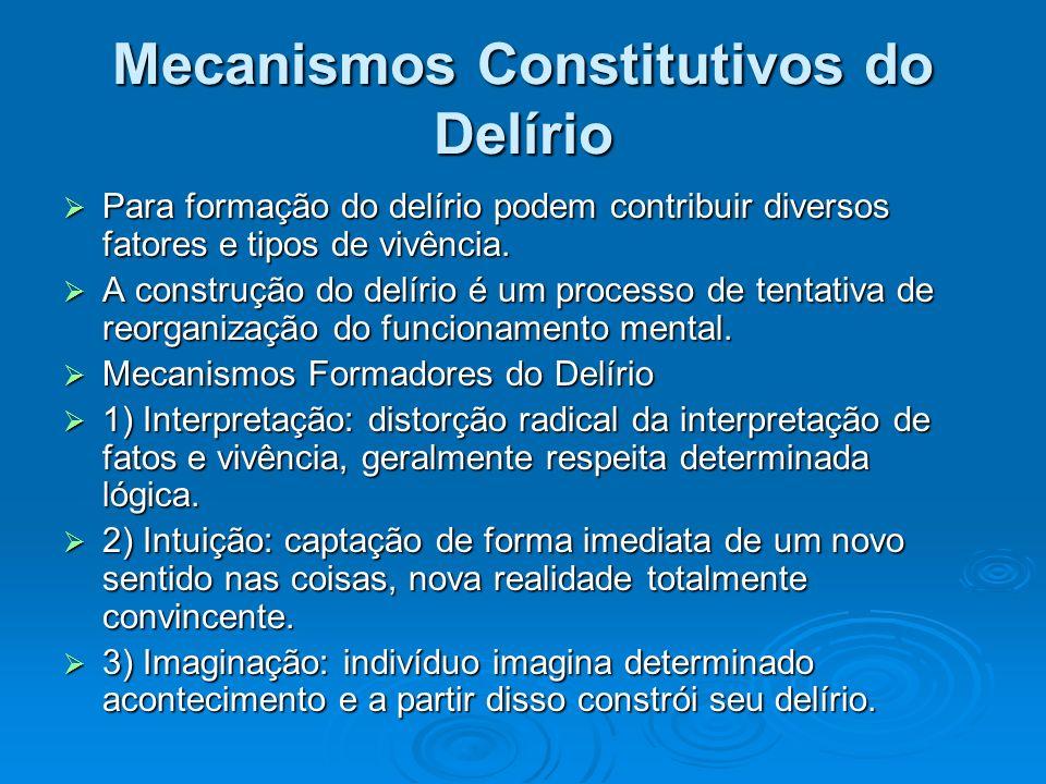 Mecanismos Constitutivos do Delírio Para formação do delírio podem contribuir diversos fatores e tipos de vivência. Para formação do delírio podem con