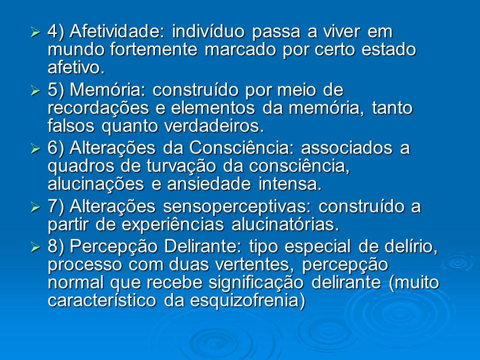 4) Afetividade: indivíduo passa a viver em mundo fortemente marcado por certo estado afetivo. 4) Afetividade: indivíduo passa a viver em mundo forteme