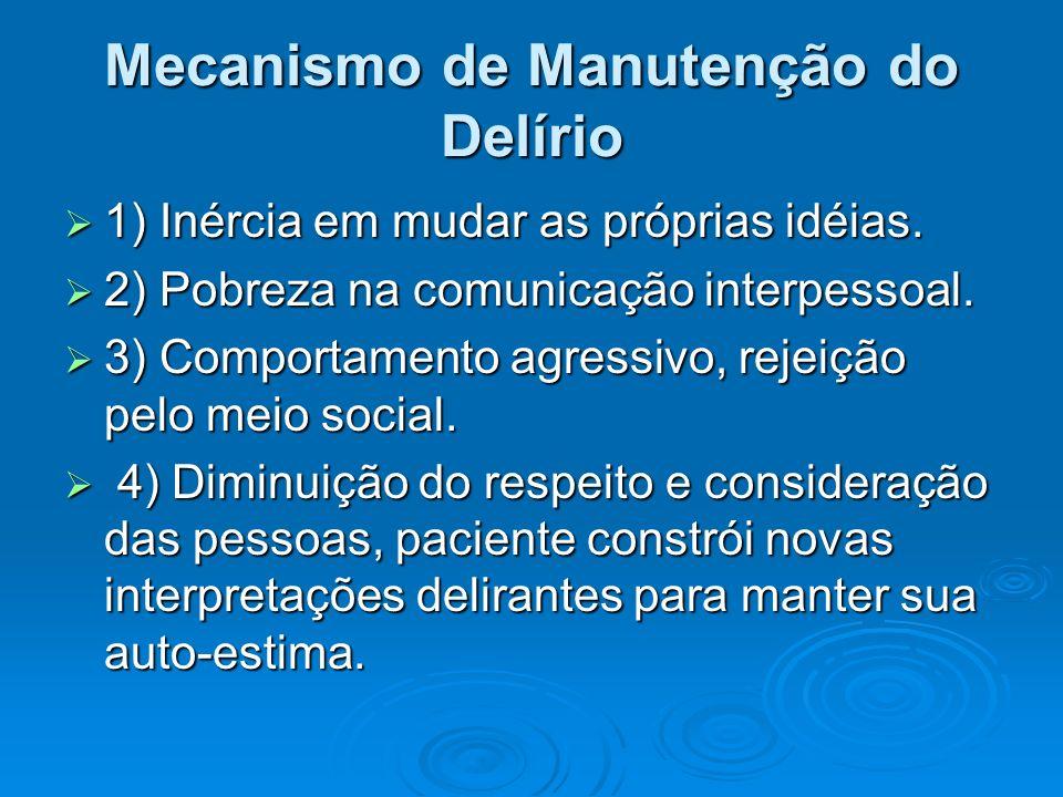 Mecanismo de Manutenção do Delírio 1) Inércia em mudar as próprias idéias. 1) Inércia em mudar as próprias idéias. 2) Pobreza na comunicação interpess