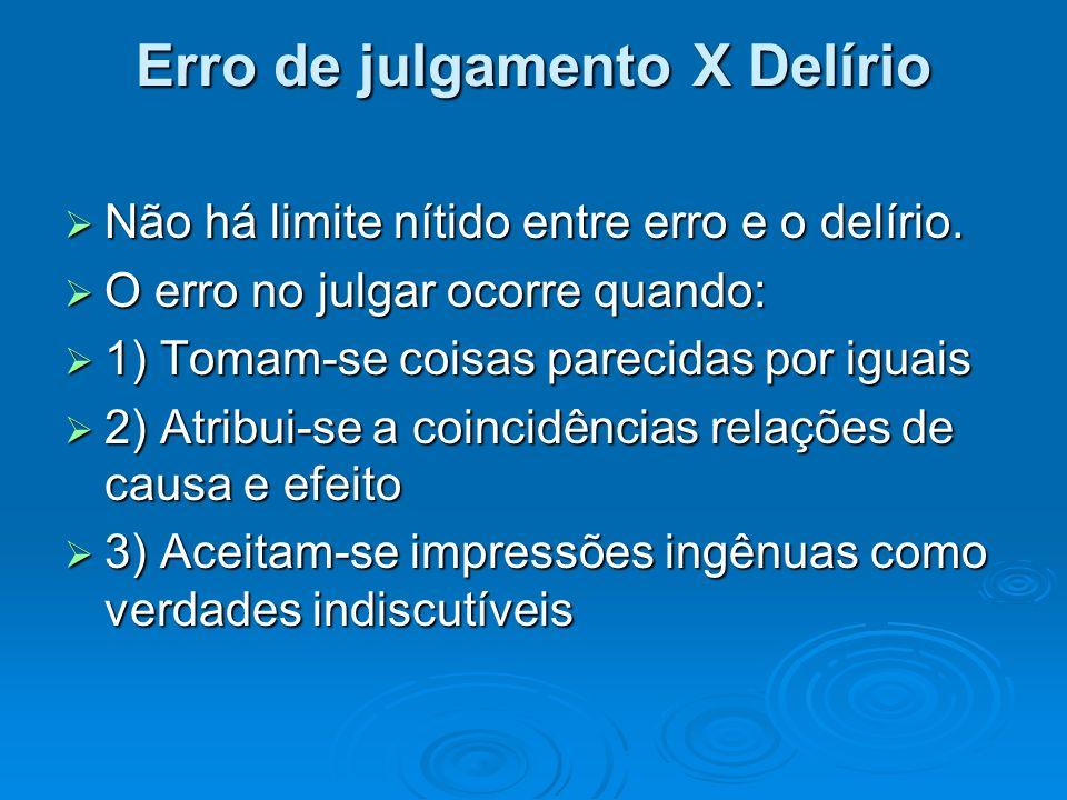 Erro de julgamento X Delírio Não há limite nítido entre erro e o delírio. Não há limite nítido entre erro e o delírio. O erro no julgar ocorre quando: