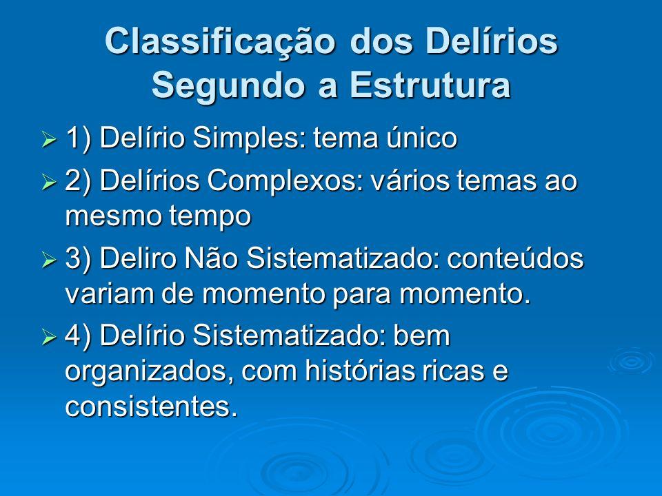 Classificação dos Delírios Segundo a Estrutura 1) Delírio Simples: tema único 1) Delírio Simples: tema único 2) Delírios Complexos: vários temas ao me