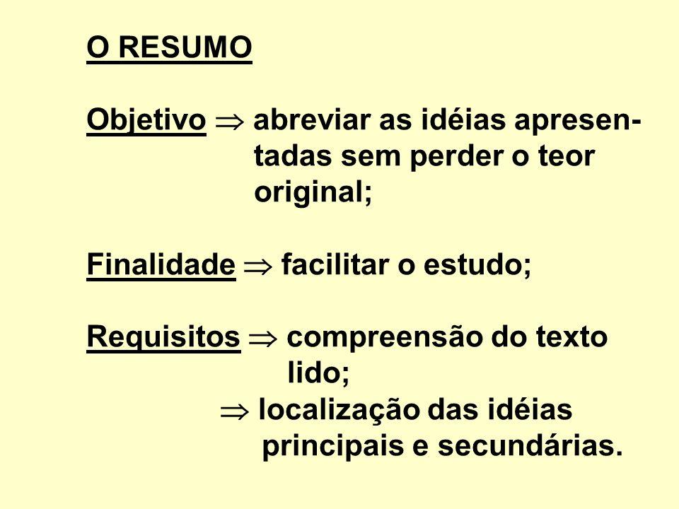 O RESUMO Objetivo abreviar as idéias apresen- tadas sem perder o teor original; Finalidade facilitar o estudo; Requisitos compreensão do texto lido; localização das idéias principais e secundárias.
