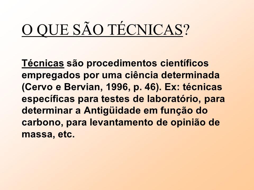 O QUE SÃO TÉCNICAS? Técnicas são procedimentos científicos empregados por uma ciência determinada (Cervo e Bervian, 1996, p. 46). Ex: técnicas específ