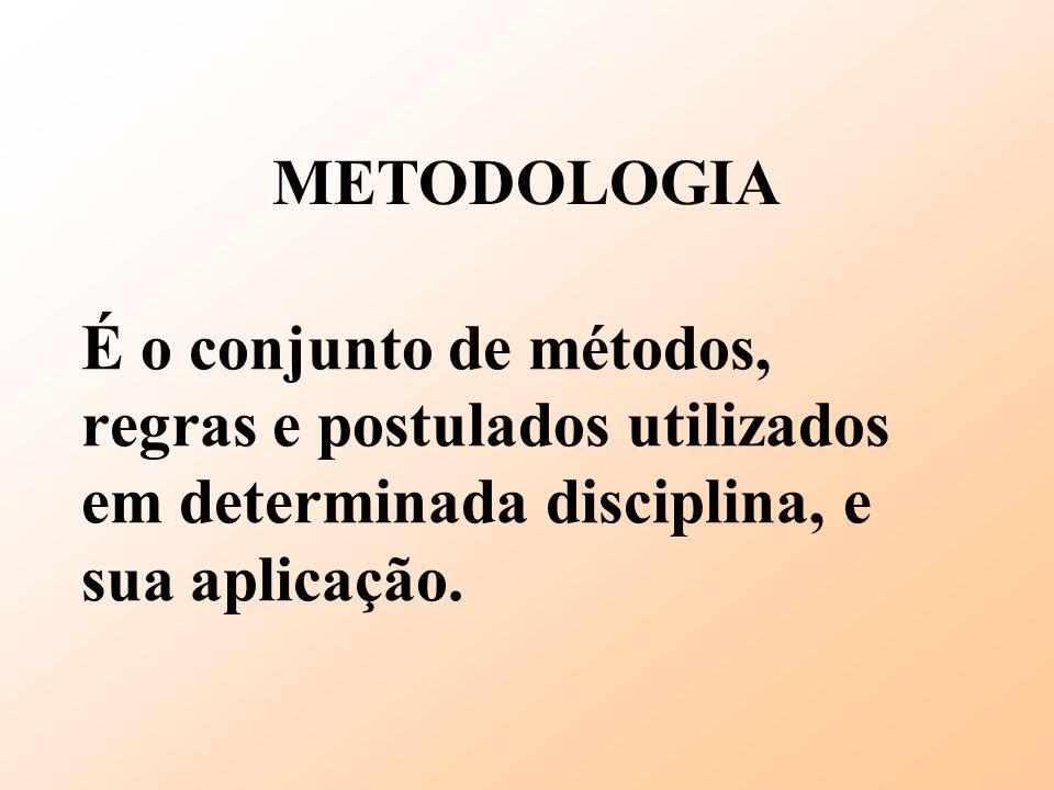 É o conjunto de métodos, regras e postulados utilizados em determinada disciplina, e sua aplicação. METODOLOGIA