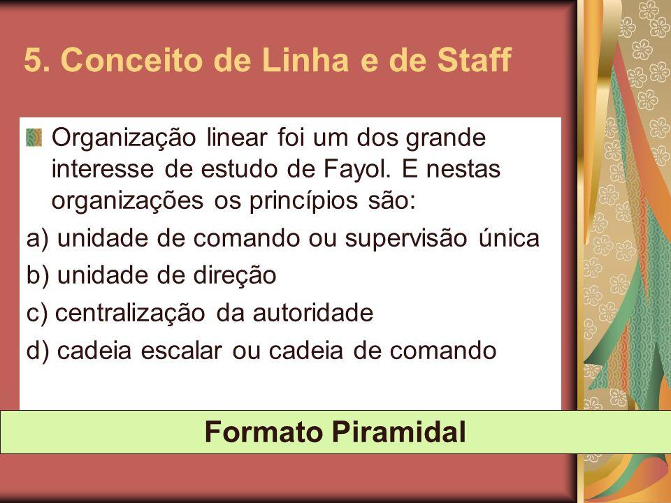5. Conceito de Linha e de Staff Organização linear foi um dos grande interesse de estudo de Fayol. E nestas organizações os princípios são: a) unidade