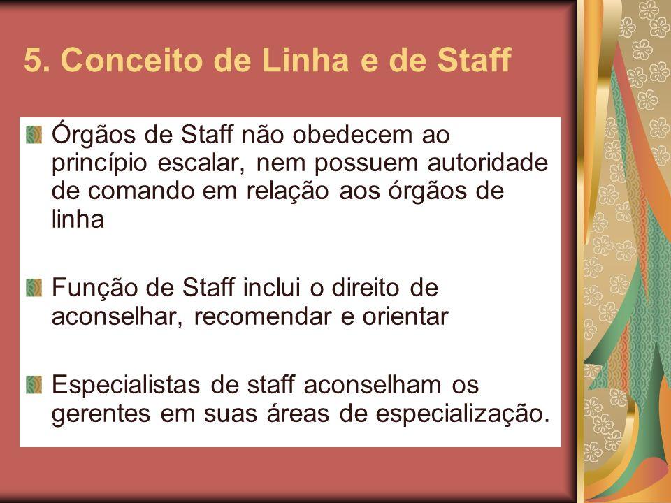 5. Conceito de Linha e de Staff Órgãos de Staff não obedecem ao princípio escalar, nem possuem autoridade de comando em relação aos órgãos de linha Fu