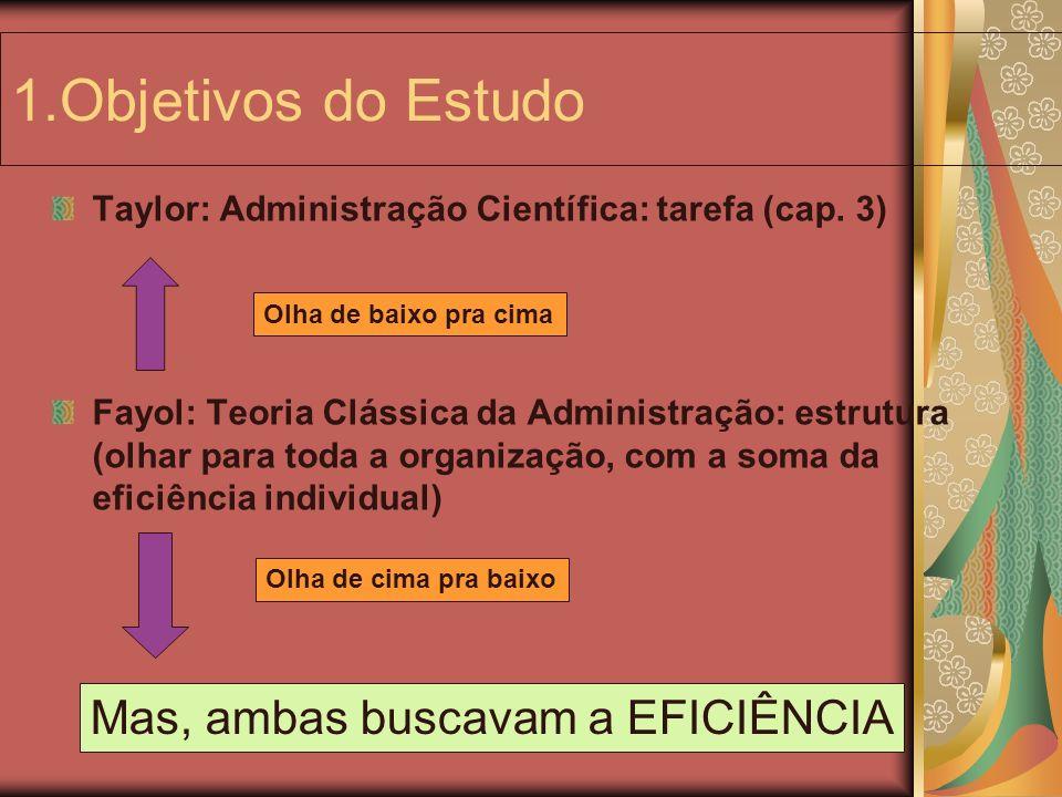 1.Objetivos do Estudo Taylor: Administração Científica: tarefa (cap. 3) Fayol: Teoria Clássica da Administração: estrutura (olhar para toda a organiza