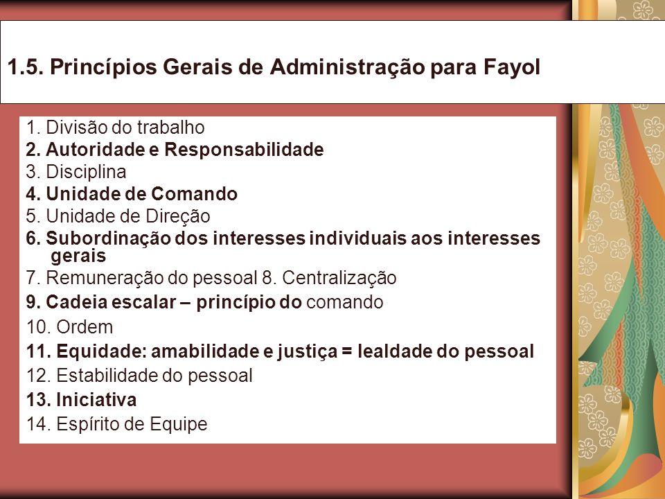 1.5. Princípios Gerais de Administração para Fayol 1. Divisão do trabalho 2. Autoridade e Responsabilidade 3. Disciplina 4. Unidade de Comando 5. Unid