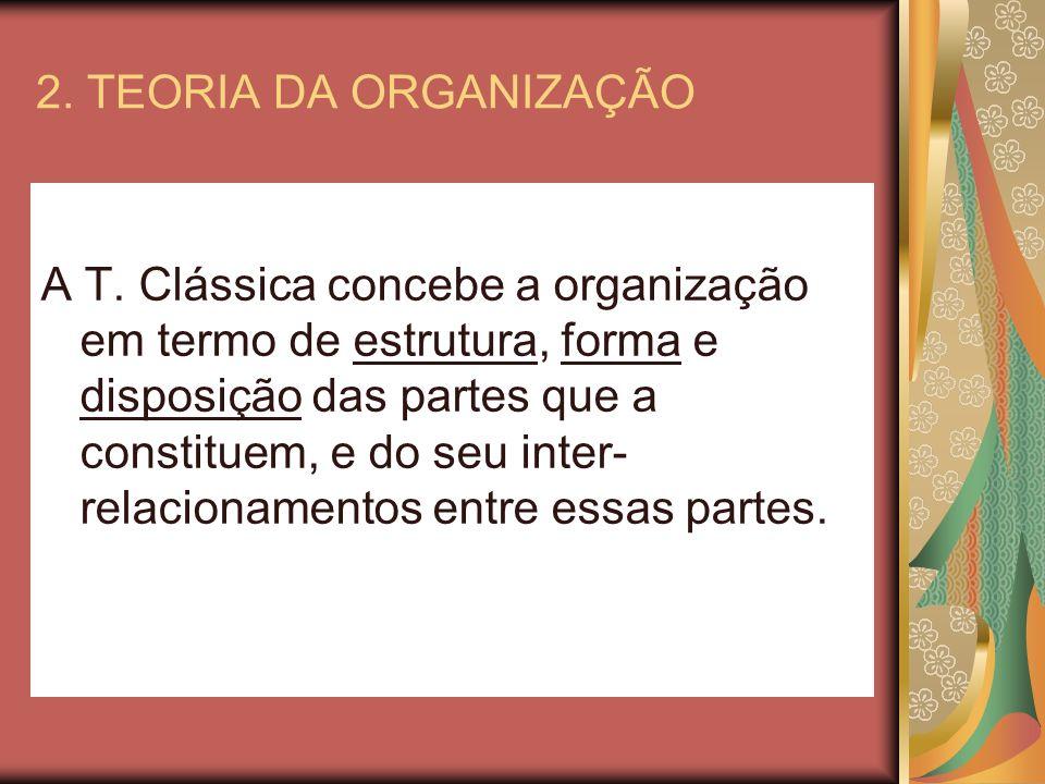 2. TEORIA DA ORGANIZAÇÃO A T. Clássica concebe a organização em termo de estrutura, forma e disposição das partes que a constituem, e do seu inter- re