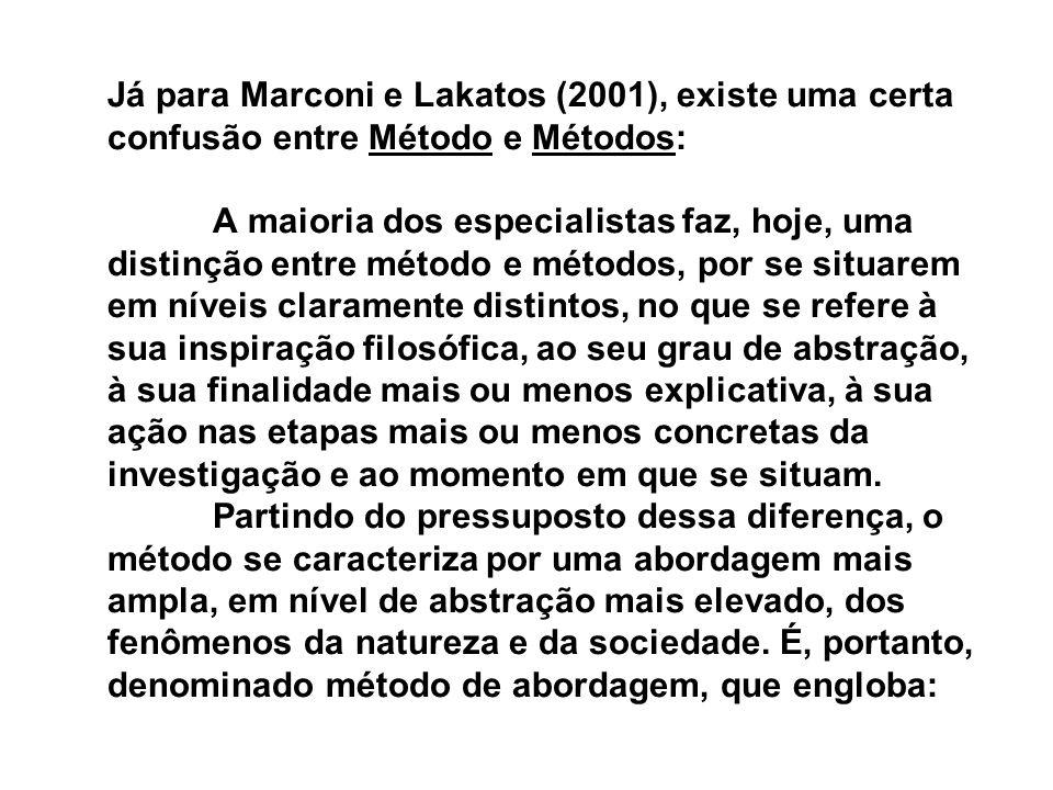 Já para Marconi e Lakatos (2001), existe uma certa confusão entre Método e Métodos: A maioria dos especialistas faz, hoje, uma distinção entre método e métodos, por se situarem em níveis claramente distintos, no que se refere à sua inspiração filosófica, ao seu grau de abstração, à sua finalidade mais ou menos explicativa, à sua ação nas etapas mais ou menos concretas da investigação e ao momento em que se situam.