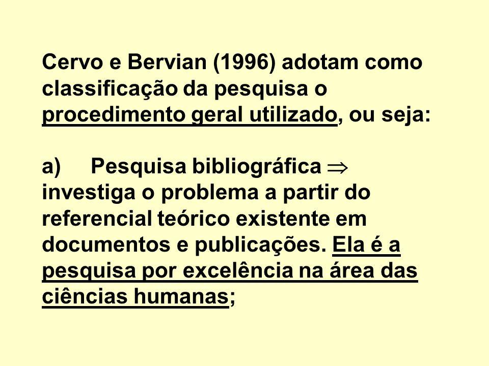 Cervo e Bervian (1996) adotam como classificação da pesquisa o procedimento geral utilizado, ou seja: a)Pesquisa bibliográfica investiga o problema a